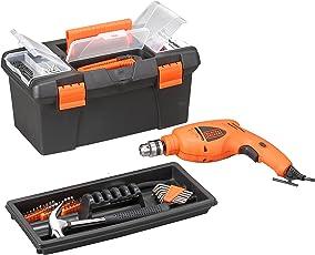 Black + Decker HD400BX 500-Watt Impact Drill Kit in Storage Box (Orange, 103-Pieces)
