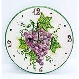 Orologio da muro Linea Uva Ceramica Cucina Linea Frutti Misti Realizzato e Dipinto a mano Le Ceramiche del Castello Made in I