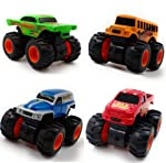 SaleOn™ Premium Quality 4WD Unbreakable Mini Monster Trucks Friction Powered Cars for Kids Big Rubber Tires (Set of 4)