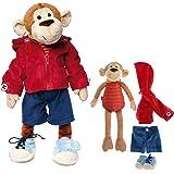 Sigikid 40989 - niñas y niños, Muñeco de Peluche Mono Aprender juguetonamente desvestirse Aprender Rojo / Azul Oscuro