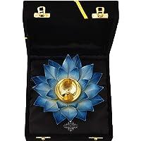 Indian Art Villa Lotus Design Diya Deepak, Home Décor, Poojan Purpsoe, 8 Inch, Blue