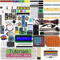 Freenove Ultime Starter Kit pour Raspberry Pi 4 B 3 B+, 434 Pages de Tutoriels Détaillés, Python C Java, 223 Articles, 57 Projets, Apprendre l'électronique et la Programmation, Planche à Pain