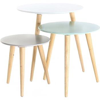 3x Table Gigogne Ronde En Bois Colore Stockholm Amazon Fr Cuisine