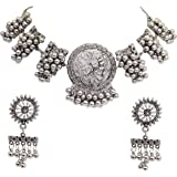 Total Fashion Women's Oxidised Silver Brass Afghani Necklace Choker Jewellery Set (Silver)