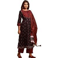 Women's Cotton Fast Color Printed Anarkali Kurta Palazzo Suit Set With Dupatta