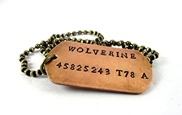 Streetsoul Xmen Wolverine Locket Stamped Copper Army Tag Antique Gold Chain Necklace Gift for Men.