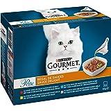 Gourmet Perle Sauce Delight Kattenvoer, Natvoer met Rund, Tonijn of Kip in Saus, 12 x 85g - doos van 4 (48 portiezakjes; 4,08
