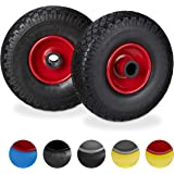 Relaxdays, zwart-rood steekwagenwielset, lekvrij, 3.00-4 massief rubberen banden, stalen velg, 25 mm as, 100 kg, 260 x 85 mm