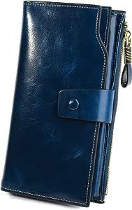 YALUXE Femme Portefeuille en Cuir Ciré Porte Cartes Blocage RFID Grande Capacité Luxueux Simple Bleu