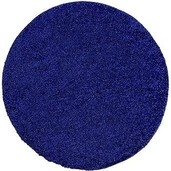Shaggy Teppich, Flauschiger Hochflor Wohn Teppich, Einfarbig/Uni In Blau  Für Wohnzimmer, Schlafzimmmer, Kinderzimmer, Esszimmer, Größe: 160 X 160 Cm  Rund