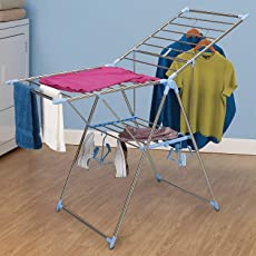 TIED RIBBONS Cloth Drying Stand Foldable Stainless Steel for Balcony Home