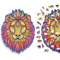 Puzzle en Bois 140 Pièces, Puzzles d'animaux Colorés de Forme Unique (Lion MystéRieux), Idéal pour la Collection de Jeu…