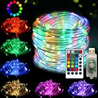 DreiWasser Fairy Rope Lights, 10M 100LEDs USB Powered Tube Fairy Lights with Remote & Timer Waterproof Multicolor Copper Wire Strip Lights for Bedroom Patio Party Garden Decor