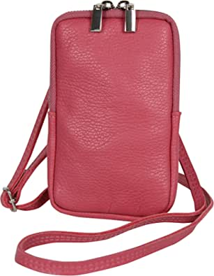 AmbraModa GLX17 - Umhängetasche, Handytasche, Echtleder Tasche mit abnehmbarem und verstellbarem Schultergurt, geeignet für Handy bis zu 6,5 Zoll.