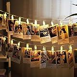 شريط اضاءة ليد مع مشابك للصور، شريط اضاءة بتصميم رومانسي يعمل ببطارية مع 20 مشبك لتعليق الصور