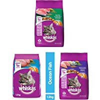Whiskas Adult (+1 Year) Dry Cat Food - Tuna Flavour, 1.2kg Pack, Ocean Fish Flavour, 1.2kg Pack & Mackerel Flavour, 1…