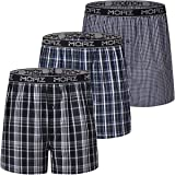 JINSHI Men's Boxer Shorts Underwear Boxer Cotton Plaid Button Fly Sleep Pajama Shorts 3-Pack