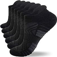 Anqier Mens Socks, 6 Pairs Running Socks for Women Anti-Blister Cushioned Cotton Odor-free Trainer Socks for Men Ladies…