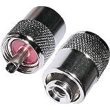 AERZETIX: 2 x Conectores Enchufe UHF PL-259 para Cable RG58 Twist-on