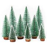 Herefun Mini Árbol de Navidad, 9Pcs Árbol de Navidad Artificial, Mini Navidad Verde Árbol Artificial Abeto, Árbol De Nieve, I