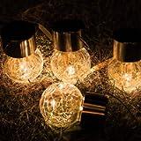 Hanging Solar Ball Lights, 4 Pack Upgrade Cracked Glass Hanging Ball Lights, Last Longer, Waterproof Outdoor Lanterns…