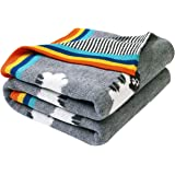 mimixiong Baby Blankets Knitted Double Layer Soft Cellular Pram Blankets,Sheep Patterns(Grey)