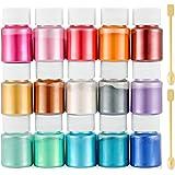 Funxim epoxyhars kleur 15x10g, zeepkleur set metallic kleur harskleur, Mica Poeder Pigmenten Poeder voor Zeep Hars Gegoten Ha