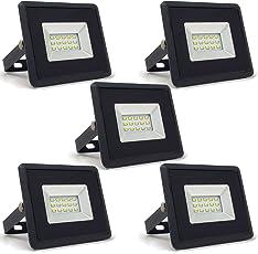 5-er Pack - ZONE LED SET - 10W - LED Strahler, LED Fluter - Weisses Licht (6400K) - 850 Lm - Entspricht 50W - Abstrahlwinkel 110° - Schwarzer Körper