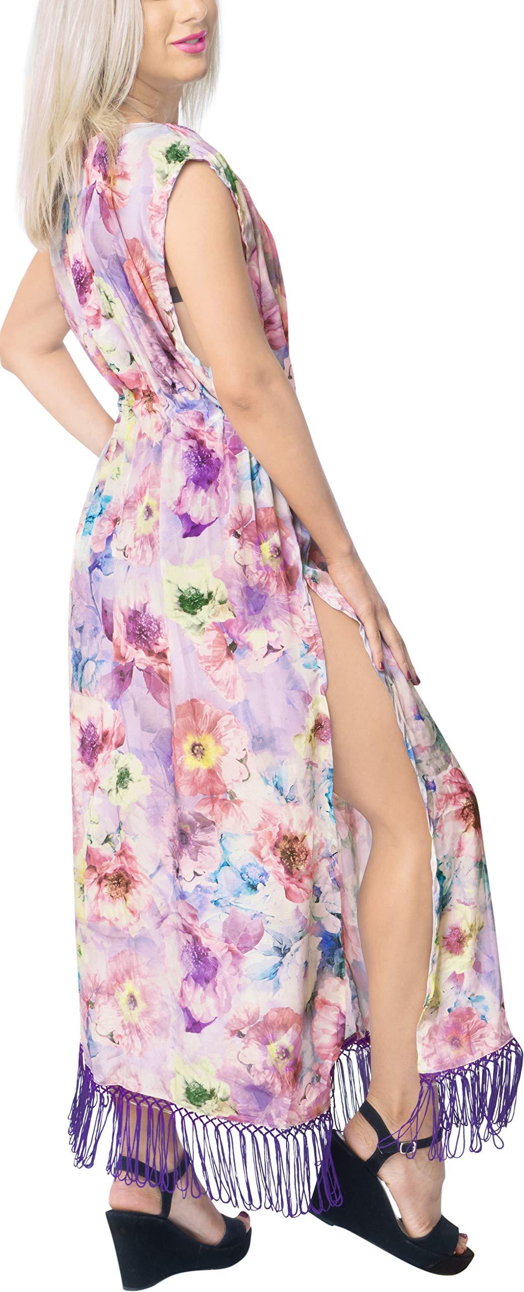 LA LEELA Seta Kimono Cardigan Lungo Donna Estivo Pizzo Boho Copricostume Abito da Mare Spiaggia per Costumi da Bagno… 4 spesavip