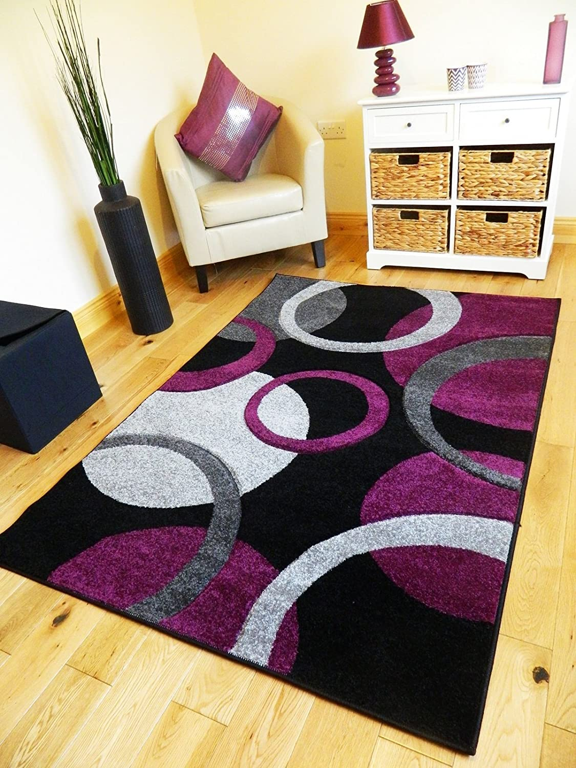 *5 Sizes*NEW SMALL MEDIUM XX LARGE MODERN PURPLE BLACK SILVER CARVED  QUALITY HALL RUNNER LIVING ROOM MAT CHEAP BEDROOM OFFICE SOFT RUG (200 X  290 CMS): ...