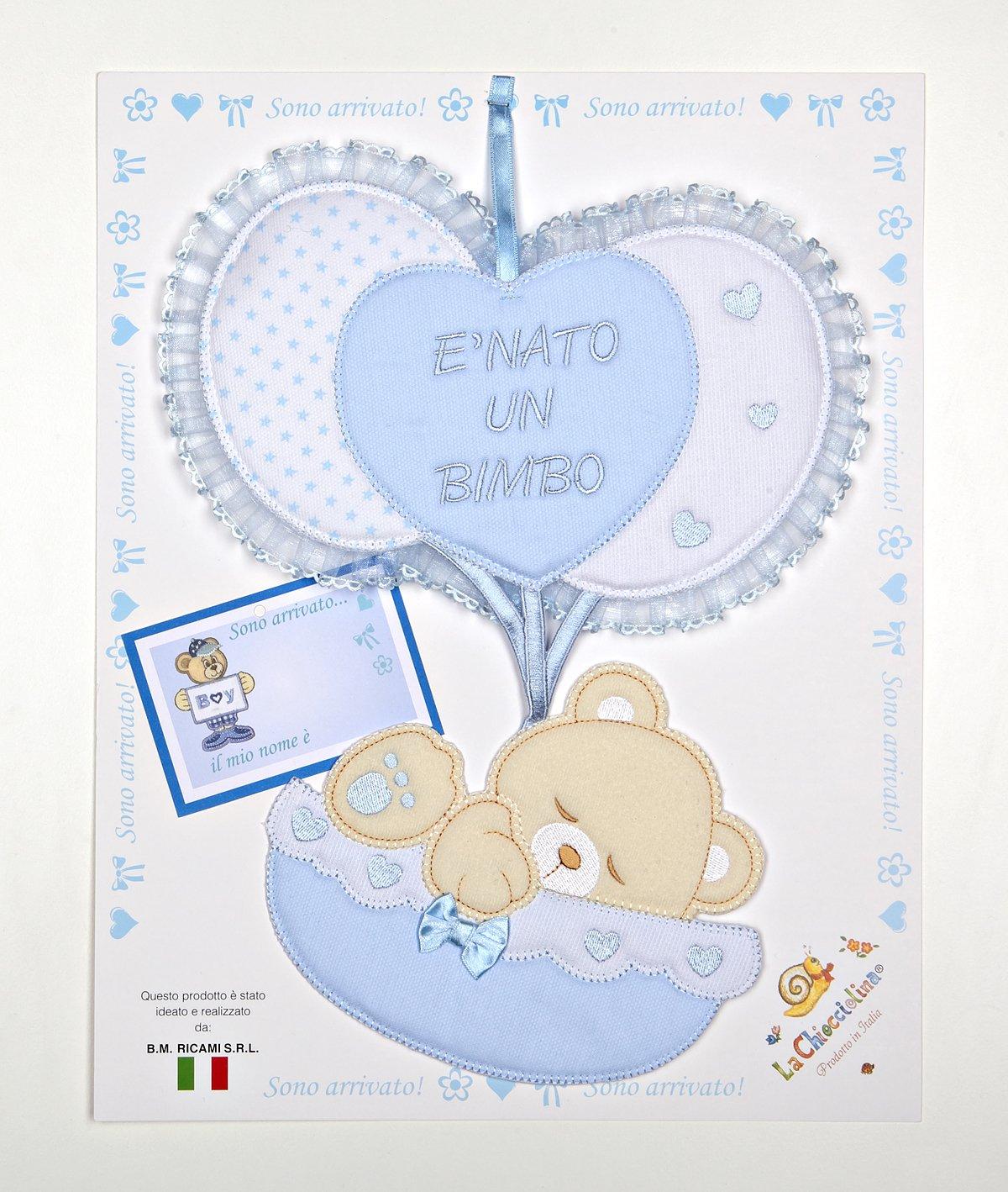 fiocco nascita palloncini cuore con orso in una culla azzurro