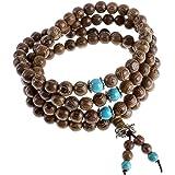 Jovivi Gioiello Collana Bracciale Elastico, 8 mm-108 Perline in Legno da Uomo Donna, Tibetano Buddista Mala Cinese Preghiera