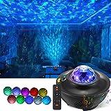 LED Sternenhimmel Projektor Lampe, Rotierende Wasserwellen Galaxy Light mit Fernbedienung und Bluetooth Lautsprecher, Projekt