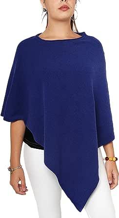 Fantasie Terrene Poncho Cashmere Donna, Fatto a Maglia in Filato 95% Cashmere Riciclato di Alta qualità. Made in Italy Colore Bluette.