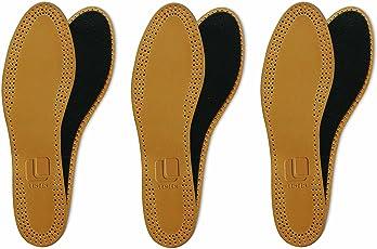 3 Paar Echtleder Einlegesohle, Premium, Aktivkohle, Geruchsabsorber, hohe Paßgenauigkeit im Schuh, sehr dünn und weich, atmungsaktiv