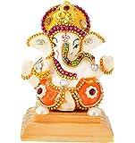 UniqueArt White Stone God Ganesha Car Dashboard Decor Statue | Hindu Idol God Ganesh Ganpati Decor Sculpture…