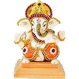 UniqueArt White Stone God Ganesha Car Dashboard Decor Statue   Hindu Idol God Ganesh Ganpati Decor Sculpture   Decorative Gif