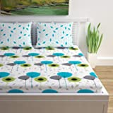 Divine Casa 144 TC 100% Cotton Floral Double Bedsheet with 2 Pillow Covers, White and Sky Blue Color (Double Bed (87 W x 94 L