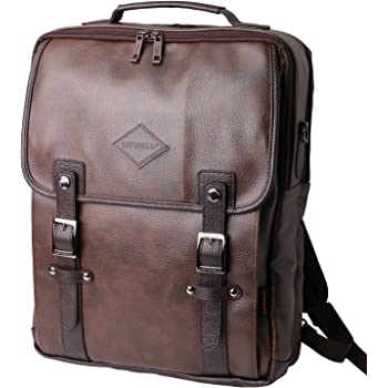 8f42188f8ba1 Brown Laptop Backpack Messenger Tote Bags Synthetic Leather  Amazon ...