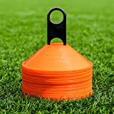 FORZA Training Marker Cones [50 Pack] – Premium-Grade Training Cones & Stand | Multi Sport - Rugby/Netball/Football Cones | S