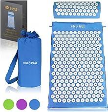 High Pulse Akupressur Set inkl. Tasche + Poster – Akupressurmatte & Akupressurkissen mit Nadeln zur Massage, Stimulierung der Blutzirkulation und Lösung von Verspannungen am Kopf und am ganzen Körper (Blau)