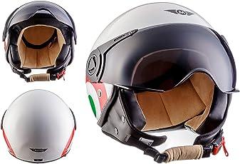 Moto Helmets H44 Italy · Vintage Mofa Biker Scooter-Helm Roller-Helm Chopper Helmet Moto Helmetsrrad-Helm Vespa-Helm Cruiser Retro Jet-Helm Pilot Bobber · ECE zertifiziert · inkl. Sonnenvisier · inkl. Stofftragetasche · Weiß · M (57-58cm)
