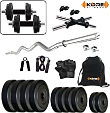 "Kore PVC 20 Kg Combo 3 Home Gym Kit with One 3 Ft Curl + 2 x 14"" Dumbbell Rods"