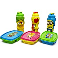 Kids Fashion Laxmi Collection Set of Plastic Lunch Box with Water Bottle - Pack of 3