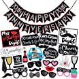 Wobbox 70th Anniversary Photo Booth Party Props DIY Kit with 70th Anniversary Bunting Banner, Red Glitter & Black , Anniversa