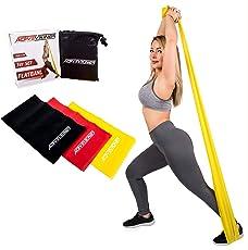 ActiveVikings Women's Set 3-Stärken 2m Länge Ideal für Muskelaufbau Physiotherapie Pilates Yoga Gymnastik und Crossfit | Fitnessband Gymnastikband Widerstandsbänder, Gelb Rot Schwarz, Breite: 15cm