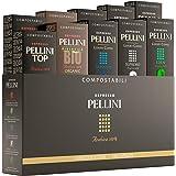 PELLINI Gift Box Multipack, 100 café capsules compostables et compatibles Nespresso 0.50 kg