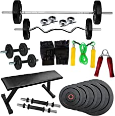 GOLD FITNESS FLAT BENCH WITH COMBO HOME GYM SET WITH 30 KG RUBBER PLATES + 5 FT PLAIN ROD AND 3 FT CURL ROD + GYM ACCESSORIES + DUMBBELL RODS
