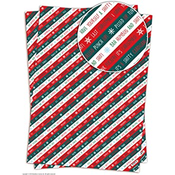 2 sheets of funny rude humorous xmas stripe christmas gift wrap - Funny Christmas Wrapping Paper