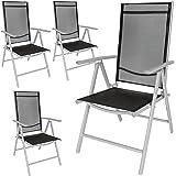 TecTake Lot de aluminium chaises de jardin pliante avec accoudoir - diverses couleurs et quantités au choix - (Gris | 4 chais